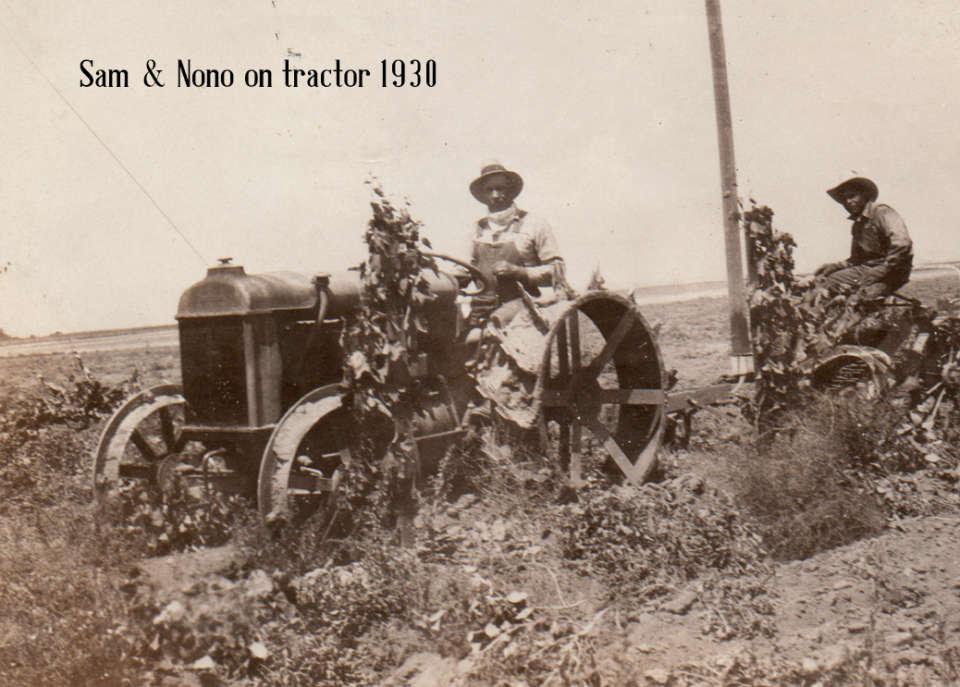 Sam & Nono on tractor 1930