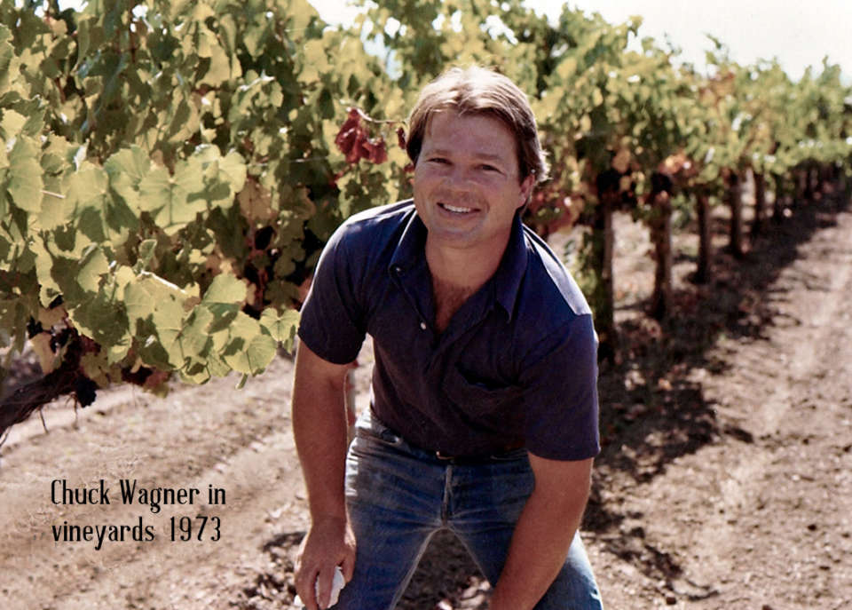 Chuck Wagner in Vineyards 1973
